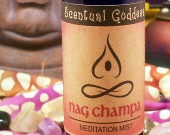 NAG CHAMPA Meditation Mist - Liquid Incense New Age Zen Spiritual - Rich Sensual Indian Nag Champa Scent in a Convenient Spray