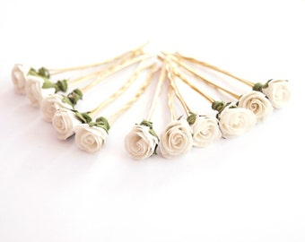 Bridal Hair Accessories, White Rose, White flower Hair Bobby Pin, Brass Bobby pin- set 6