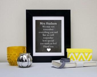 Personalized Teacher Gift, Teacher Chalkboard Print, Chalkboard Art, Teacher Quote Print, Teacher Print, Thank You Gift, Teacher Quote