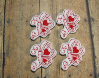 Curly Valentine Heart Butterfly felties - Machine Embroidered - Felt Applique - Felt Embellishment - Hairbow Center