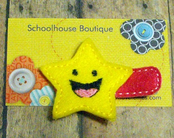 Yellow Smiling Star Felt Hair Clips  - Felties - Felt Hairbow - Felt Hair Clippie - Hair Accessories - Hair Clippie For Girls