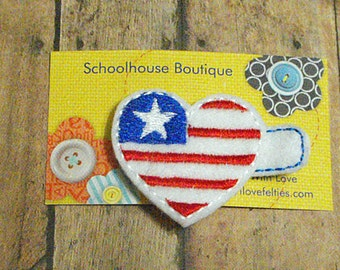 Heart Flag Felt Hair Clips - July 4th - Felties - Feltie Hair Clip - Felt Hairbow-Felt Hair Clips - Felt Hair Clippie - favor