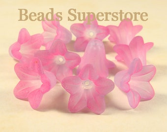 18 mm x 12 mm Two Tone Magenta Lilac Lucite Flower Bead - 10 pcs