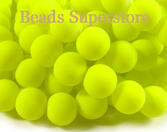 SALE CLOSEOUT 10 mm Fluorescent Neon Yellow Glass Round Bead - 20 pcs