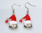 Earring - SANTA CAT - enamelled - Christmas - X-Mas - Santa Claus -Cat - Cats