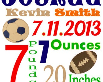 Personalized Baby Birth Annoucement Stat Wall Art My Lil MVP Sports Name Bedding Football Soccer Baseball Helmet