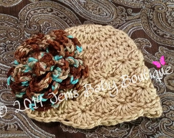 Elegant tan and brown shell Crochet Baby Girl Hat with multicolor brown flower, Baby Girl Hat with Flower,  Photo Prop Beanie
