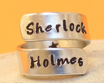 Sherlock Holmes Ring, Aluminum - Adjustable.. Hand Stamped.. Personalized Ring..