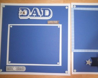 "Premade Scrapbook pages = 2 pages 8"" x 8"" Dad Father"