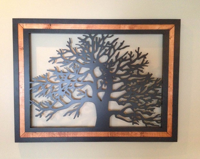 Wood Frame Metal Tree Wall Art