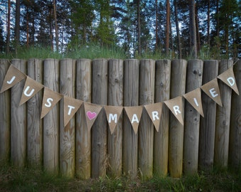 Just Married Bunting Just Married Garland Just Married Banner Wedding Banner Wedding Decor Burlap Banner Burlap Wedding Garland