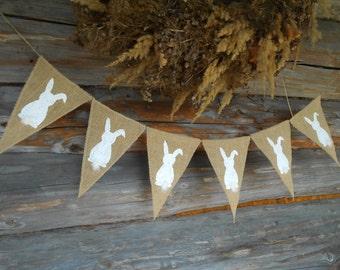Easter Decor Easter Garland Easter Banner Easter Bunny Easter Basket Easter Gifts Bunny Garland Banny Banner Rustic Easter
