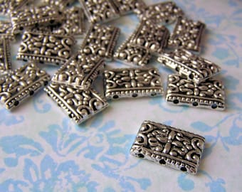 20x Rectangular Silver-Plated DECORATIVE JEWELLERY SPACERS / Connectors / Findings - For Bracelets / Necklaces -17 X 11 mm