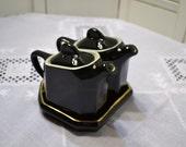 RESERVED Vintage Hall China Slant Top Art Deco Teapots Black White PanchosPorch