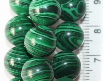"""Malachite Beads - Round 10 mm Gemstone Beads - Full Strand 15"""", 39 beads - Reconstituted"""