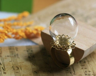 Clear glass globe vials ring blanks,glass sphere rings supplies,12mm opening,glass bottle ring kits, adjustable golden ring blanks No.4817