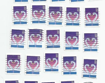 25 Love Swans Postage Stamps (used, mix B)