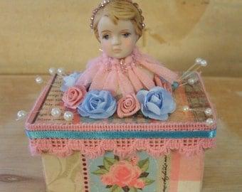 Decoupaged Paper Mache Box Chic Shabby Angel