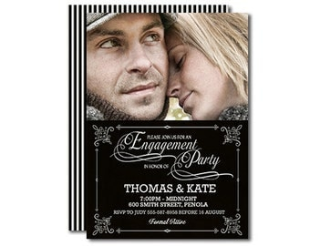 Black and White Engagement Invitation Photo Invitation Modern Typography For Engagement Party Printable