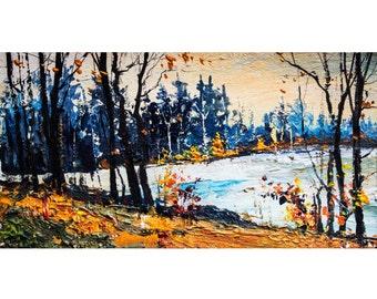 Autumn,Original acrylic painting,Landscape,free shipping