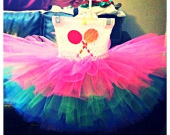 Candyland tutu dress, newborn-4 yo