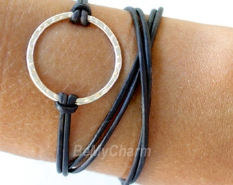 LEATHER Wrap Boho Bracelet - Silver Infinity Circle Triple Wrap Natural / Distressed / Metallic Leather w/Ext. Chain - Gift For Her - R1.5