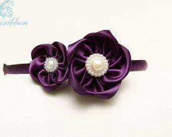 plum flowers Headband - ribbon flower girl hair band - you choose color 100