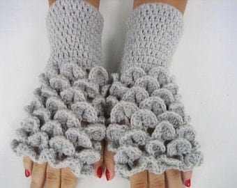 Fingerless gloves, dragon scale gloves Crocheted Gloves Arm Warmers Light Gray Accessory women fingerless gray winter fingerless gift