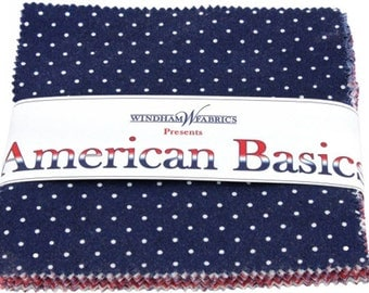 """Windham American Basics Charm Pack - (42) 5"""" X 5"""" Squares Cotton Quilt Fabric - Windham Fabric - CP5AB-82 (W1973)"""