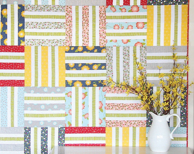 Wicker Quilt Pattern by Cluck Cluck Sew - Jelly Roll Friendly Pattern in 3 Sizes- Great Beginner Quilt (W603)