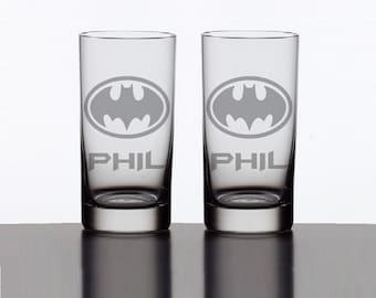 Batman Glass Set - Personalized Gotham City Batman Tumbler - Etched Batman Glasses - Personalized Glasses
