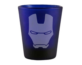 Iron Man Blue Shot Glass - Iron Man Inspired Shot Glass - DEEP Etched Iron Man Mask Glass - Geeky Glassed