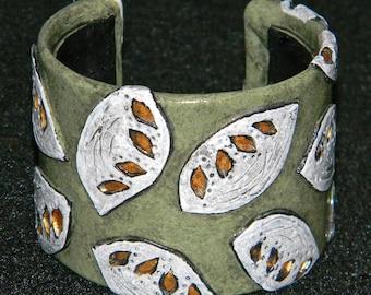 Cuff Bracelet Bangle Distressed Boho Polymer Clay Mid Century Modern Jewelry Women GLISTEN16 by ArtCirque Donna Pellegata