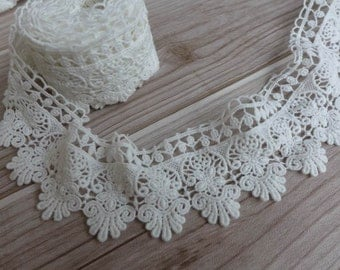 """COTTON Lace Trim Retro Off white Scalloped Lace 2"""" wide Sewing Lace for Bridal, Quilt, Costume design"""