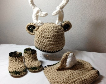 Crochet NB through 12 mos baby deer outfit camo outfit photography props