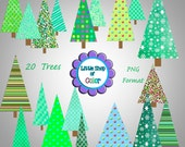 Christmas Tree Digital Clip Art Pack, Patterned Christmas Trees, Christmas Trees Digital Download, green, aqua, yellow, blue