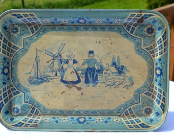 Sale: 1940's Tin Toy Tea Set Tray, Dutch Blue Delph by Wolvereine USA
