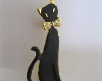 Vintage black kitty cat brooch  - Vintage cat brooch -  Vintage kitty cat  brooch