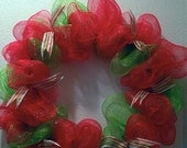 ON SALE Christmas wreath. Red and green deco mesh wreath, Cyber Monday Sale