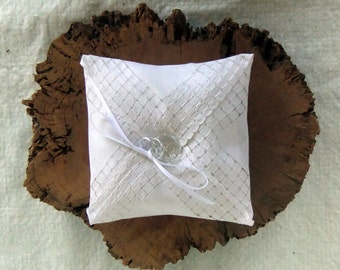 Ring Bearer Pillow Handmade from Vintage White Cutwork Handkerchief