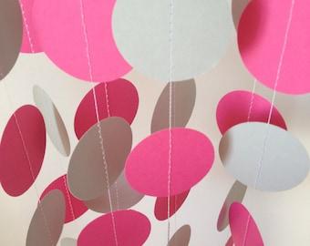 Fuschia, Light Gray 12 ft Circle Paper Garland- Party Decorations, Birthday, Wedding, Bridal Shower, Baby Shower