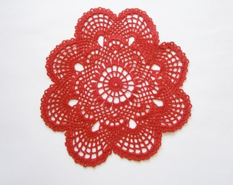 Christmas red doily, Red Doily, Red Lace Doily, Placemat, Table Runner