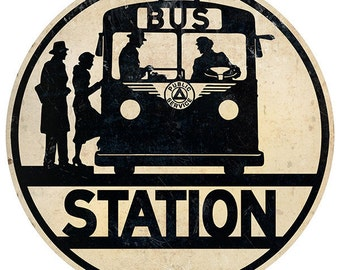 Bus Station Boarding Silhouette Wall Decal #46847