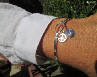Sterling Silver Peace Hook Bracelet