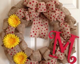 BURLAP SPRING WREATH , Polka Dot Initial Wreath, Front Door Wreath, Spring Wreath