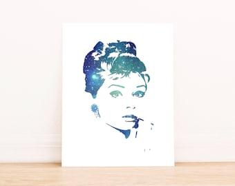 Audrey Hepburn Art, Audrey Hepburn Poster,  galaxy art print, Wall art printable, bedroom art, wall art, bedroom decor, Audrey Hepburn art