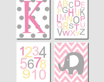 Items Similar To Nursery Decor Pink Grey Elephant Girl
