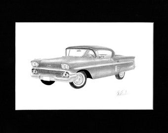 Car art drawing of a 1958 Chevrolet Impala