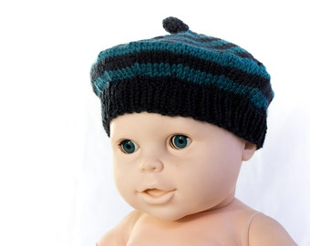 Hand Knit Baby Beret , Striped Woollen Beret , Baby Hat Blue Green , Classic Beret Hat,