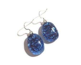 Bubble Glass Earrings in Cobalt - Ocean Jewelry - Beach Jewelry - Sterling Silver Findings - Hypoallergenic